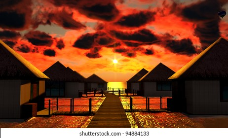 Tropical resort at sunset