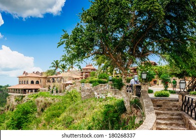 Tropical river Chavon in Dominican Republic. Vocation and travel. Ancient village Altos de Chavon - Colonial town reconstructed in Casa de Campo, La Romana, Dominican Republic.