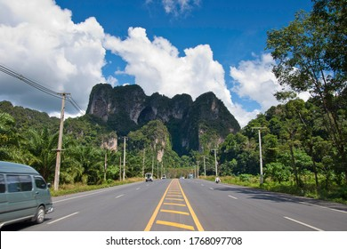 Tropical road in Krabi province. Thailand