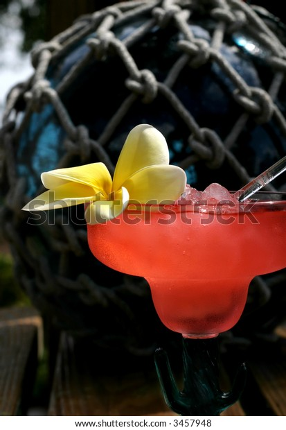 A Tropical rum punch complete with an island flower