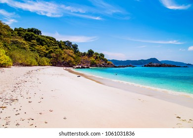 Tropical sand beach at andaman sea, Lord Loughborough Island in Myanmar and Thailand.