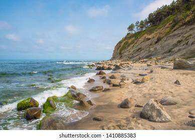 Tropical sandy beach and blue ocean