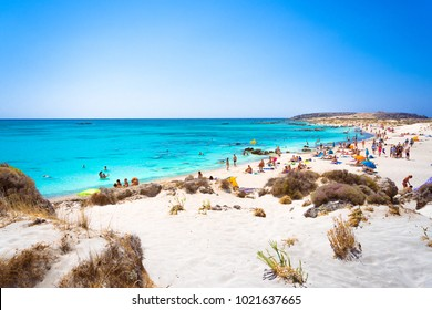 Tropical sandy beach with turquoise water, in Elafonisi, Crete, Greece on July 03, 2017.