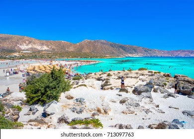 Tropical sandy beach with turquoise water, in Elafonisi, Crete, Greece