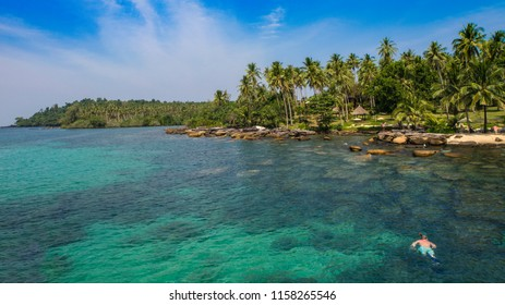 A tropical scene with a snorkeler in a blue ocean lined with palm tress on Ko Kut island, Thailand