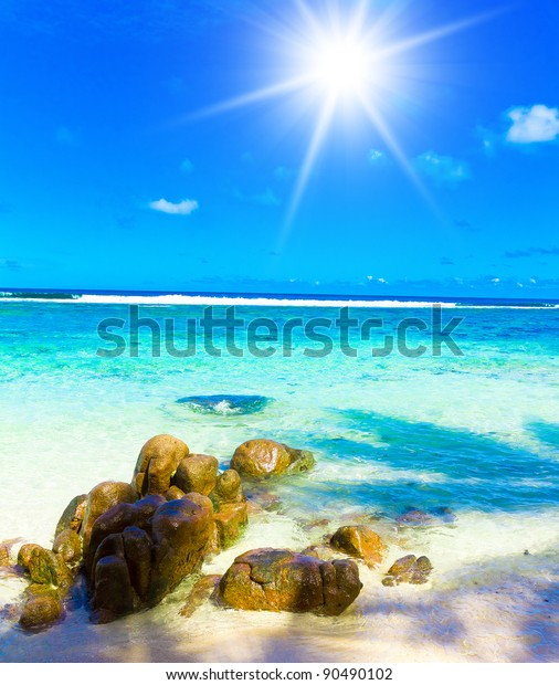 Tropical Scene Sunny Wallpaper Stock Photo Edit Now 90490102