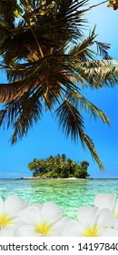 Tropical scene. Vertical panoramic composition.
