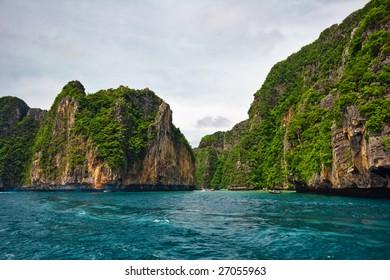 In the tropical sea. Andaman sea. Way from the phuket island to Phi Phi island. Thailand Kingdom.
