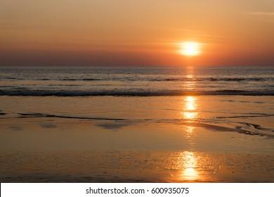 tropical sea beach on beautiful sunset background
