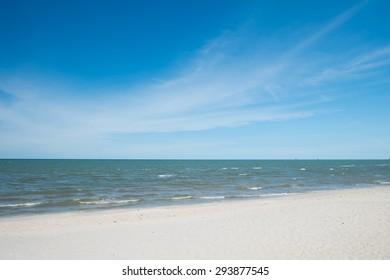 Tropical Sea Beach with Waves, Horizon and Blue Sky