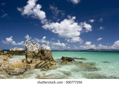 Tropical sea with deep blue sky