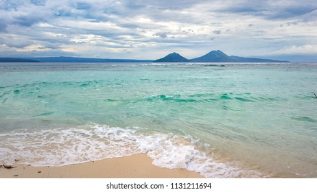Tropical sea landscape , blue sky with  clouds background, Papua New Guinea, near Rabaul, wide format