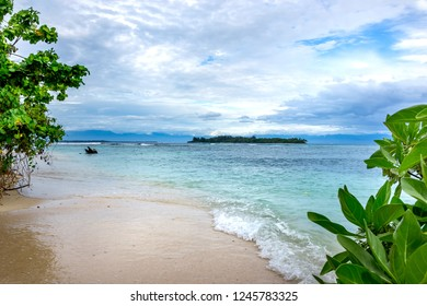 Tropical sea landscape , blue sky with clouds background, Papua New Guinea, near Rabaul