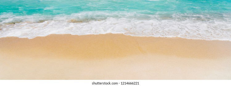 Tropical sea landscape with white sand and blue sea.  Idyllic paradise vacation destination