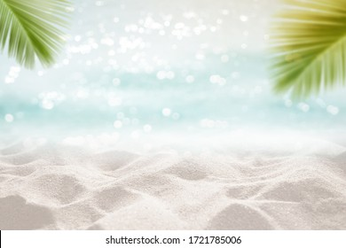 Tropical sea sand sun and white sand floor with palm leaves as frame Montage Summer background concept