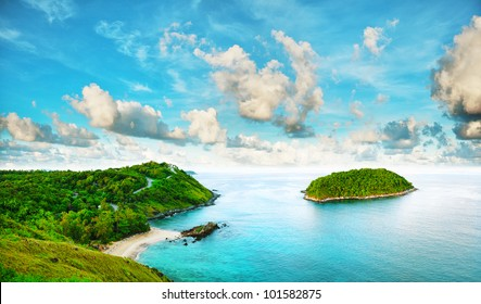 Tropical sea scenery. Panoramic composition in very high resolution. HDR processed.