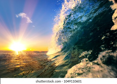 Tropical sea sunset, water background, ocean surfing wave, blue sky