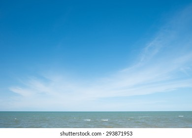 Tropical Sea with Waves, Horizon and Blue Sky