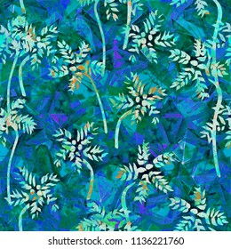 Tropical Seamless Pattern - blue palms vintage style background. For packaging, fabric, design