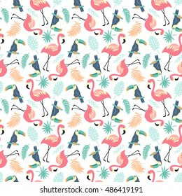 Tropical Seamless pattern with flamingos, toucans and palm leaves, trendy illustration