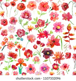 Tropical Seamless pattern. Red watercolor flowers.