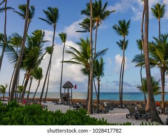 Tropical seascape in Bavaro beach (Punta Cana, Dominican Republic).
