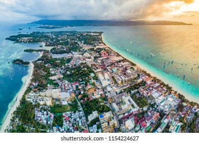 Tropical seaside resort, Boracay, Philippines, white beach aerial photography sunset