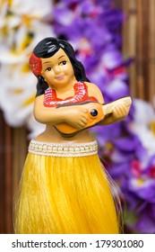 Tropical setting for a Hula girl doll