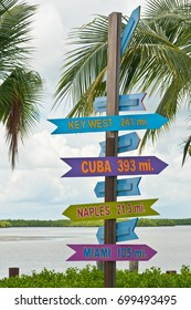 Tropical sign post with destinations and mileage