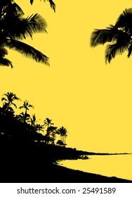 Tropical silhouette of beach, palm trees and ocean lagoon against solid gold background color, lots of space for copy