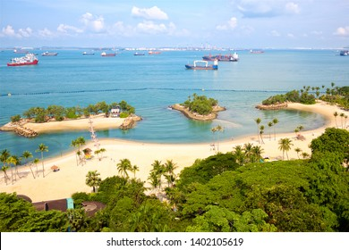 Tropical Siloso beach in Sentosa Island, Singapore