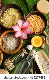 Tropical spa sitting and banana leaf  - Shutterstock ID 465279491