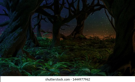 Tropical starry night, plants, mountain seamless border mysterious background. Exotic dark jungle.