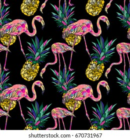 Tropical summer seamless pattern with pink flamingo, pineapple.