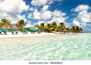 tropical summer vacation beach with sea or ocean water green palm trees and blue sky with people and umbrellas on sand coast sunny day outdoor at Costa Maya, Mexico