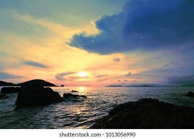Tropical sunset on the beach. Koh mak island. Thailand