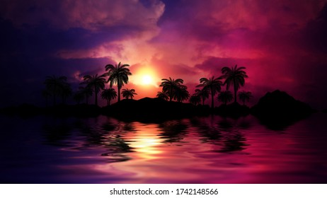 Tropical sunset with palm trees and sea. Silhouettes of palm trees on the beach against the sky with clouds. Reflection of palm trees on the water.