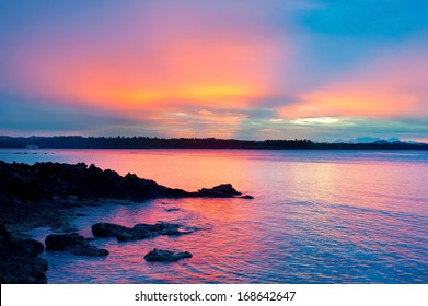 Tropical sunset in Shiargao island, Philippines