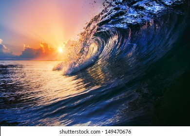 tropical sunset summer design template beautiful ocean surfing wave closing with drops and splashes