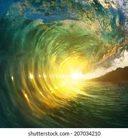Beautiful ocean wave closing near beach
