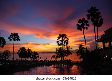 The tropical sunset in Thailand, silhouette of palms