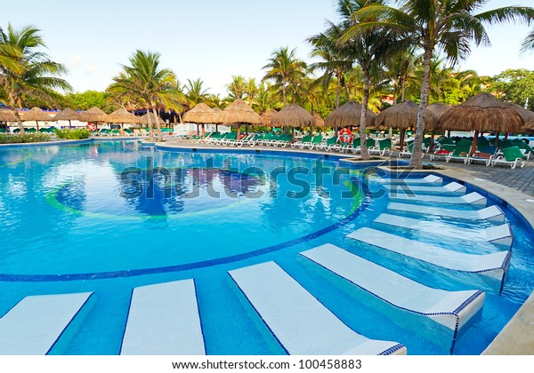 Tropical Swimming Pool Sunbeds Mexico Stock Image | Download Now