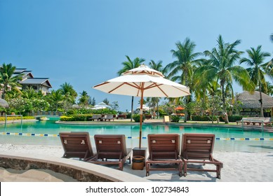 Tropical swimming pool with sunbeds in ,sanya,china