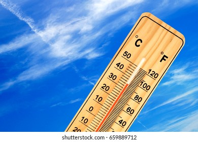 Tropical temperature of 35 degrees Celsius, measured on an outdoor thermometer.