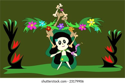 Tropical Tiki Skull with Fire Torches Jpg