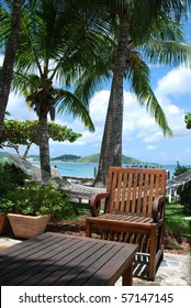 Tropical vacation  (Armchair and table at tropical resort, Saint-Martin Island)