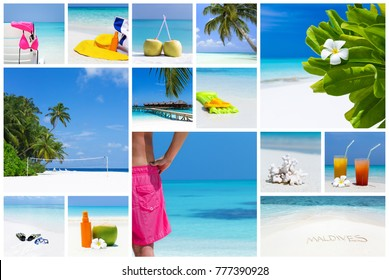 Tropical vacation card collage, travel destination concept