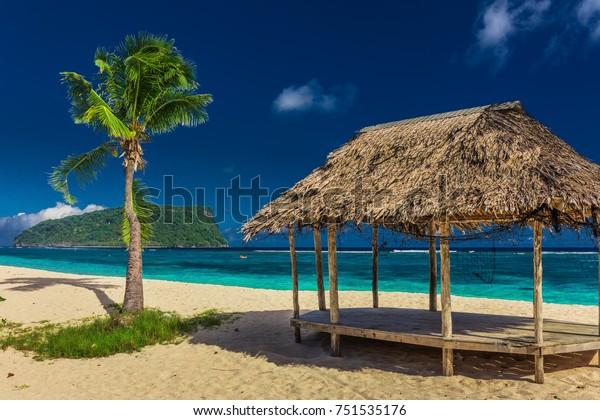 Tropical vibrant natural beach on Samoa Island with palm tree and fale, Upolu
