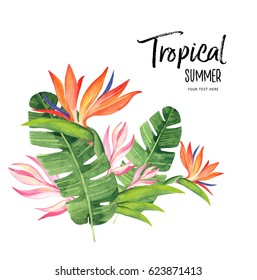 Tropical watercolor illustration card.