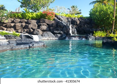 Tropical waterfall landscape in a beautiful relaxing spa resort, copy space